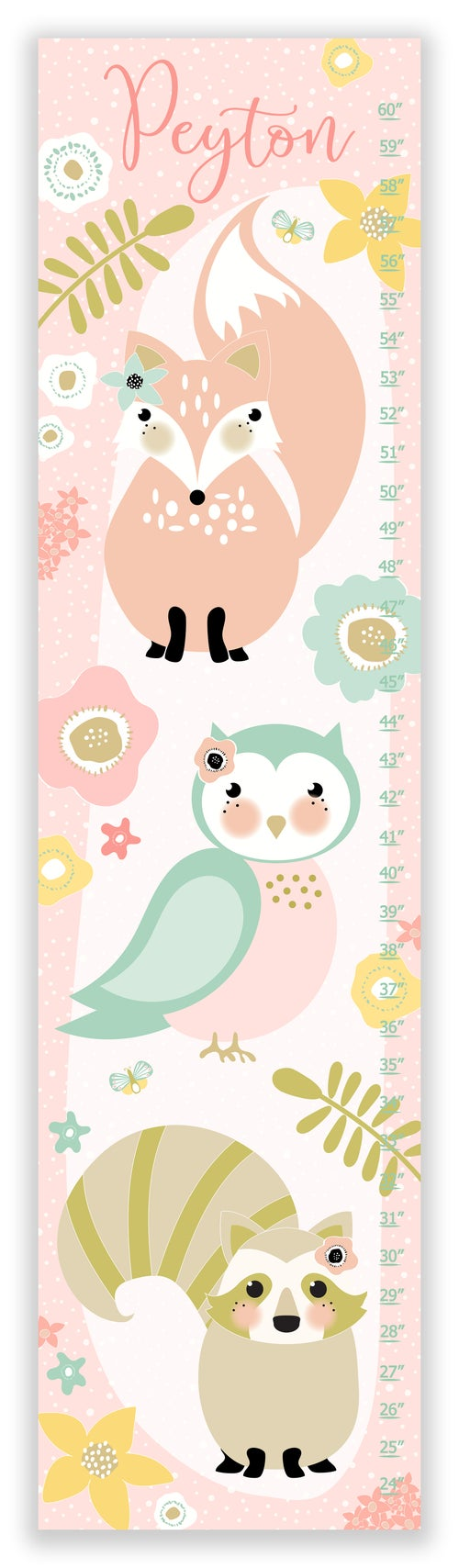 Image of Sweet Forest Friends - Personalized Pink Canvas Growth Chart