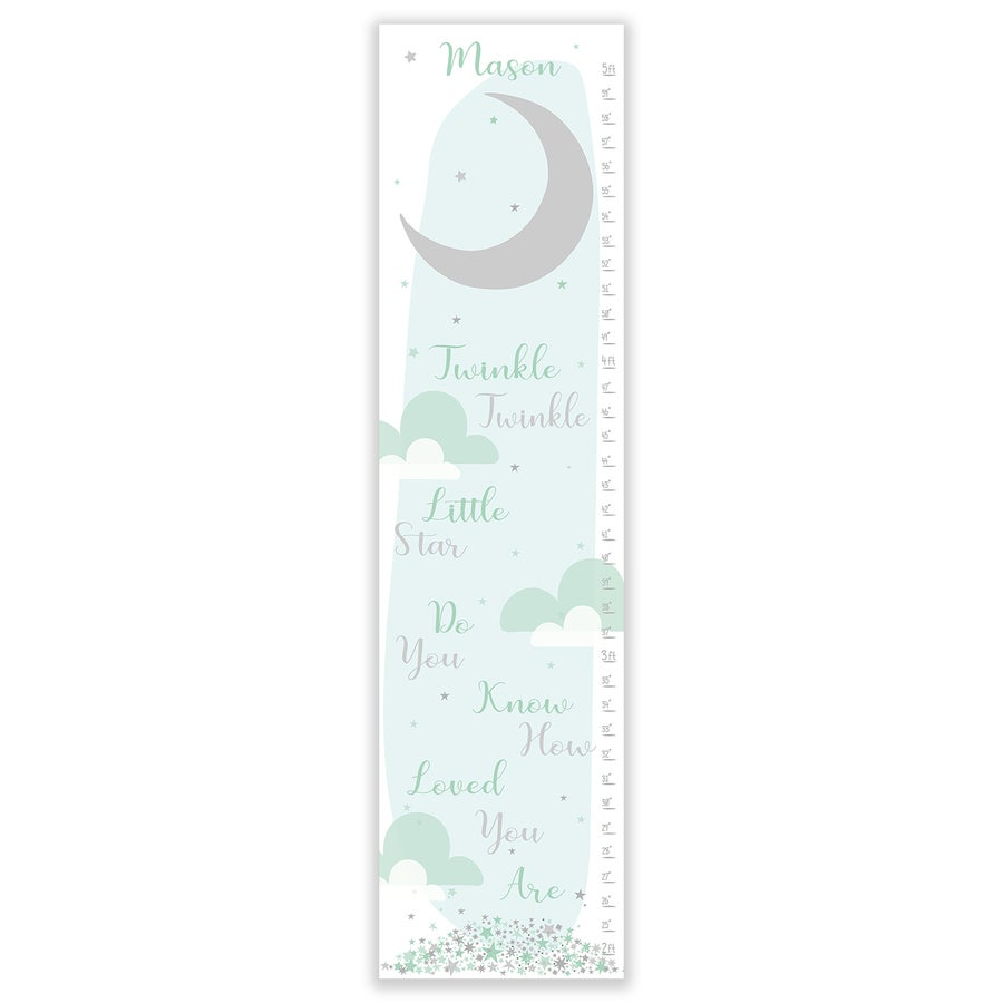 Image of Twinkle Twinkle Little Star -  Personalized Blue Canvas Growth Chart