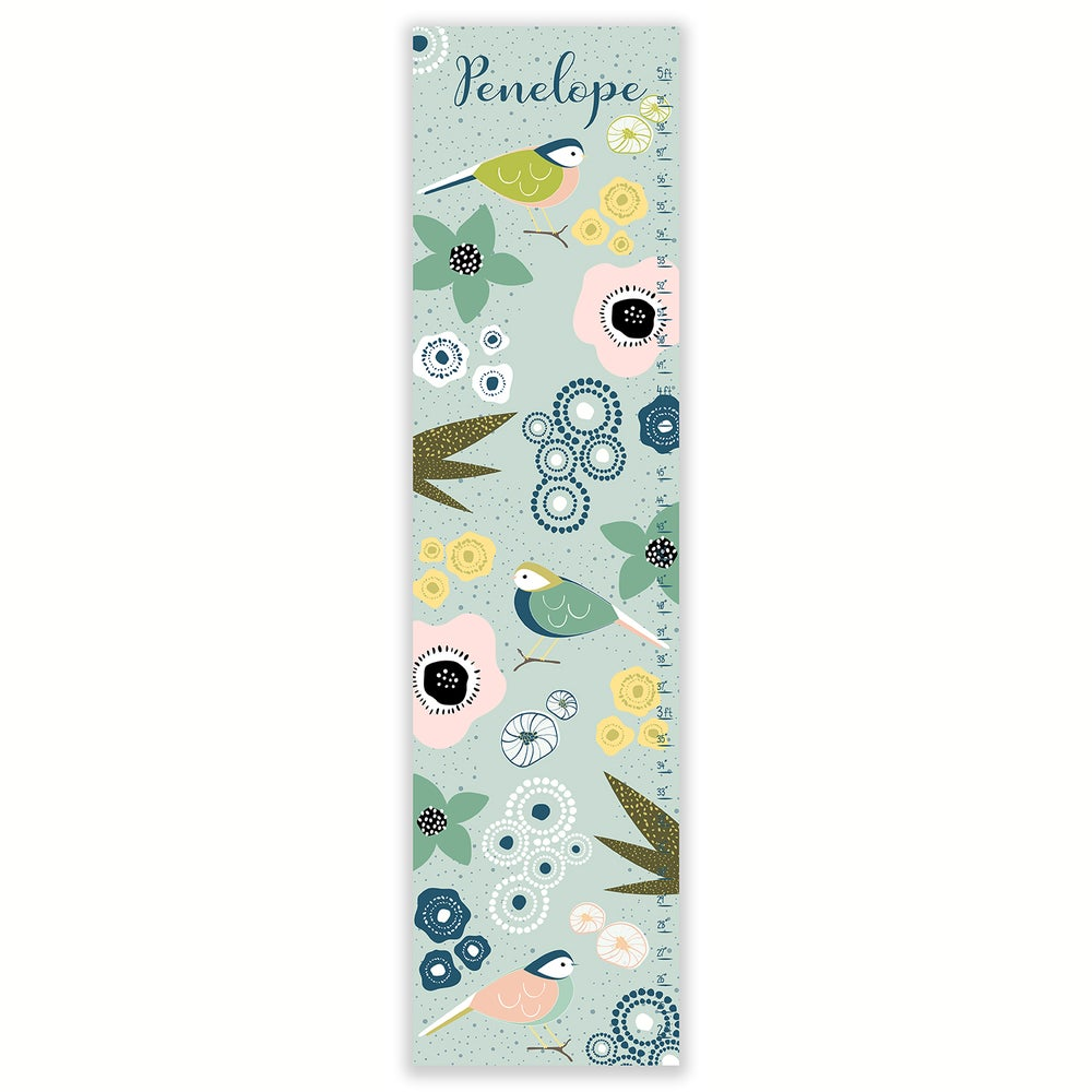 Image of Garden Birds - Personalized Blue Canvas Growth Chart