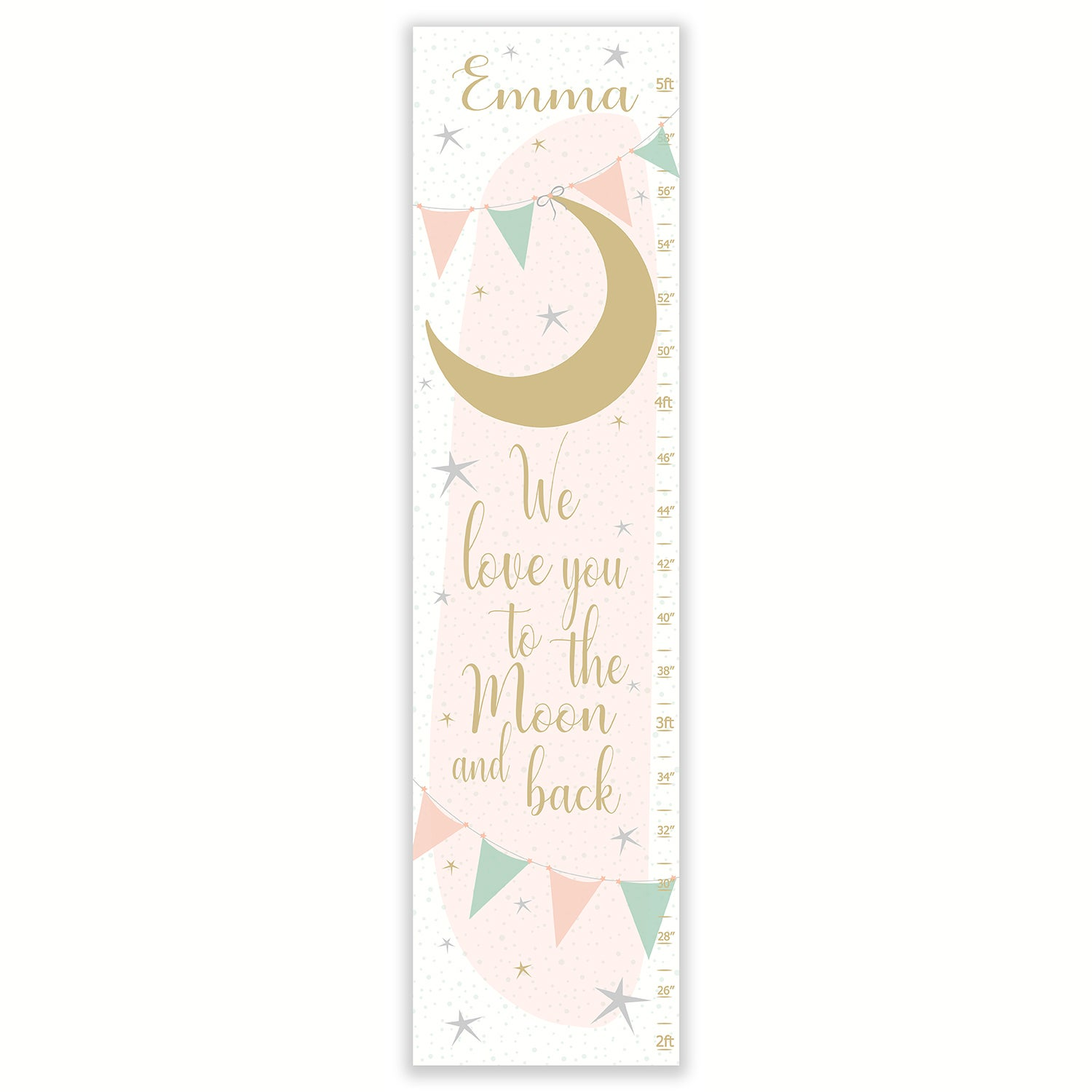 Image of We Love You To The Moon and Back - Personalized Blush Mint and Gold Canvas Groth Chart