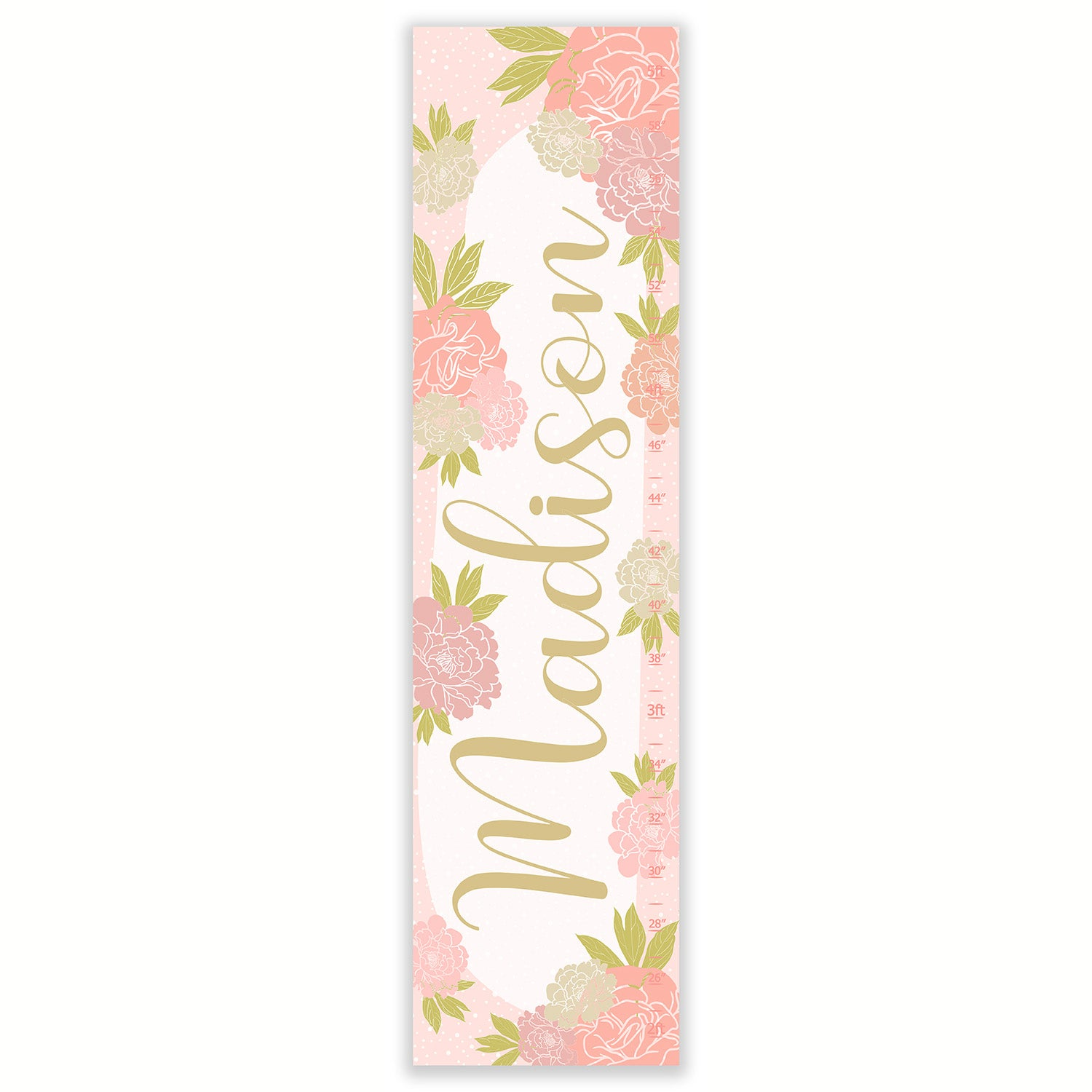 Image of Blush and Gold Calligraphy Name with Peonies - Personalized Canvas Growth Chart