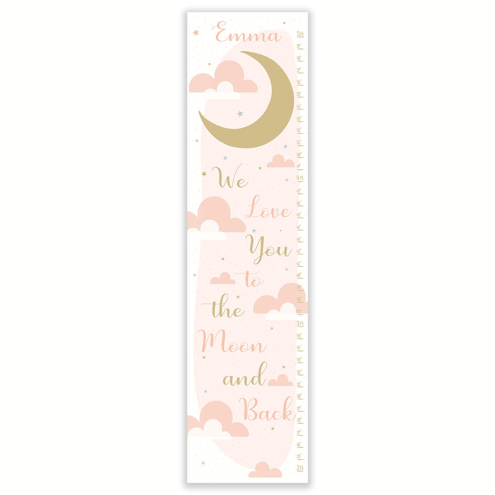 Image of We Love You to the Moon and Back - Personalized Blush and Gold Canvas Growth Chart