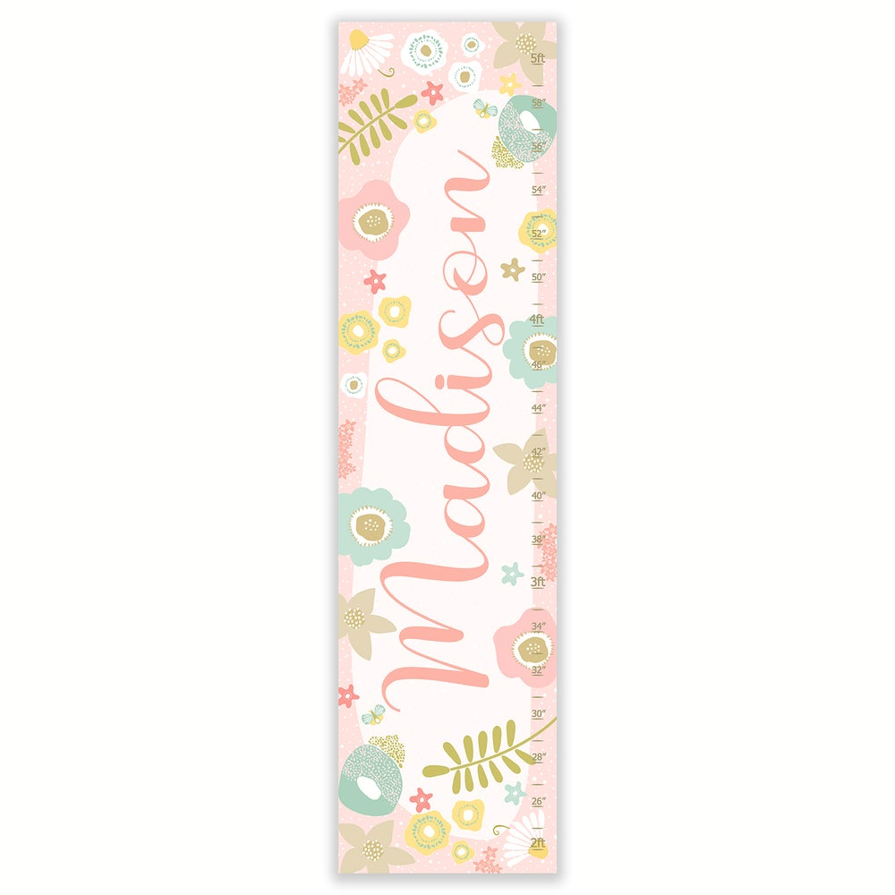 Image of Modern Floral Calligraphy Name - Personalized Blush Pink Canvas Growth Chart