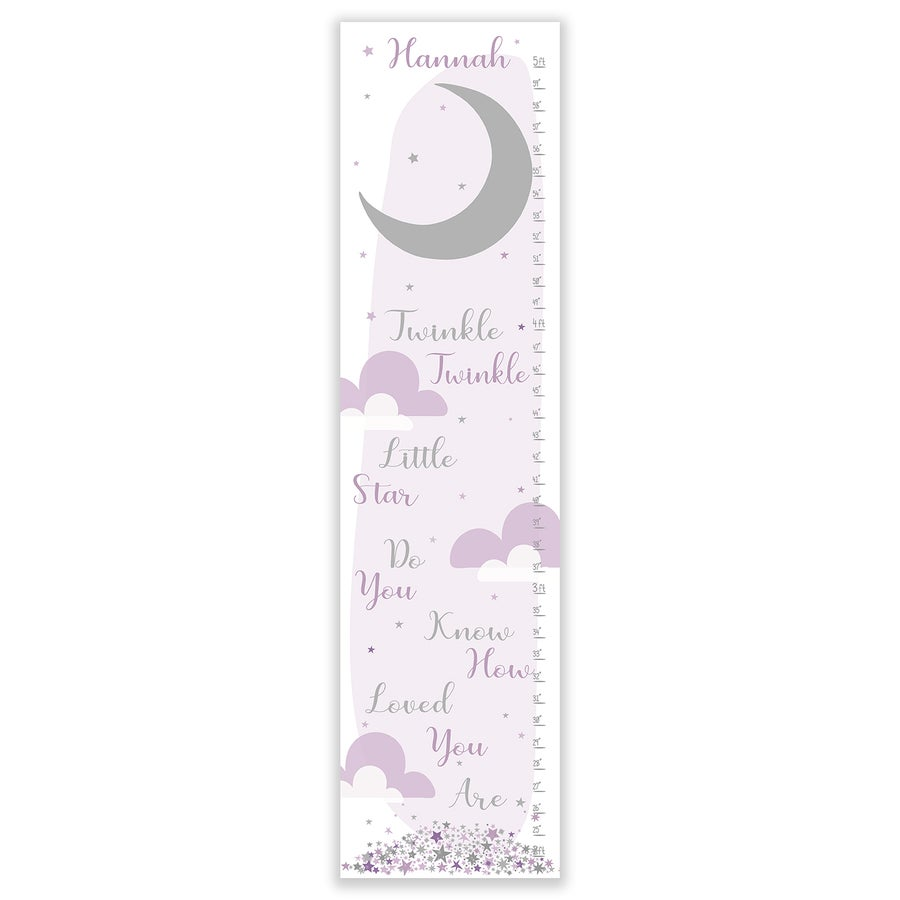 Image of Twinkle Twinkle Little Star - Personalized Lavender Canvas Growth Chart
