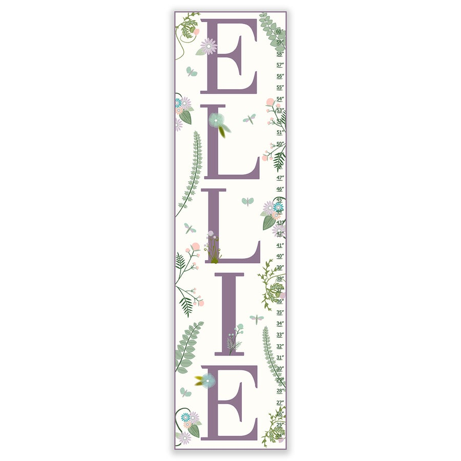 Image of Ferns and Florals - Personalized Lavender Canvas Growth Chart