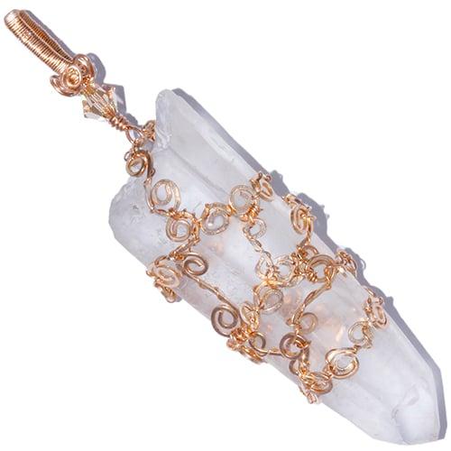 Image of Diamantina Laser Quartz Crystal Filigree Pendant