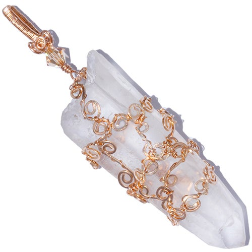Image of Diamantina Laser Quartz Crystal Filigree Pendant