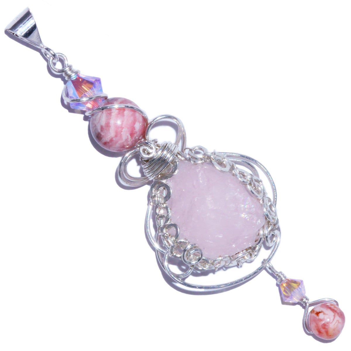 Morganite Crystal Handmade Filigree Pendant