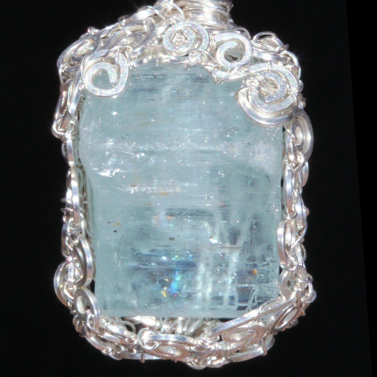 Rough Aquamarine Crystal Handmade Pendant