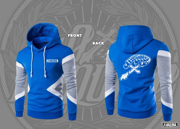 "Image of ""La Maquina"" Block Hooded Sweater (Royal Blue/Grey/White)"