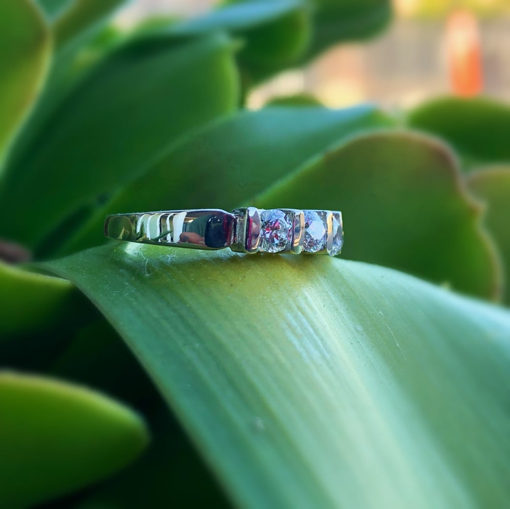 Image of Sterling silver and CZ ring size 5