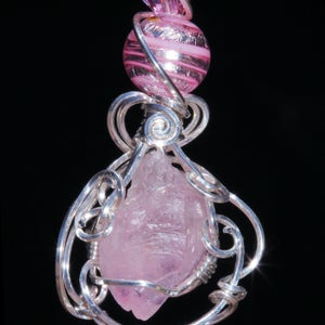 Image of Rare Naturally Terminated Rough Rose Quartz Crystal Artisan Pendant
