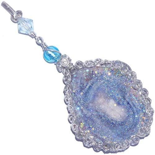 Image of Fairy Aura Chalcedony Rosette Artisan Pendant
