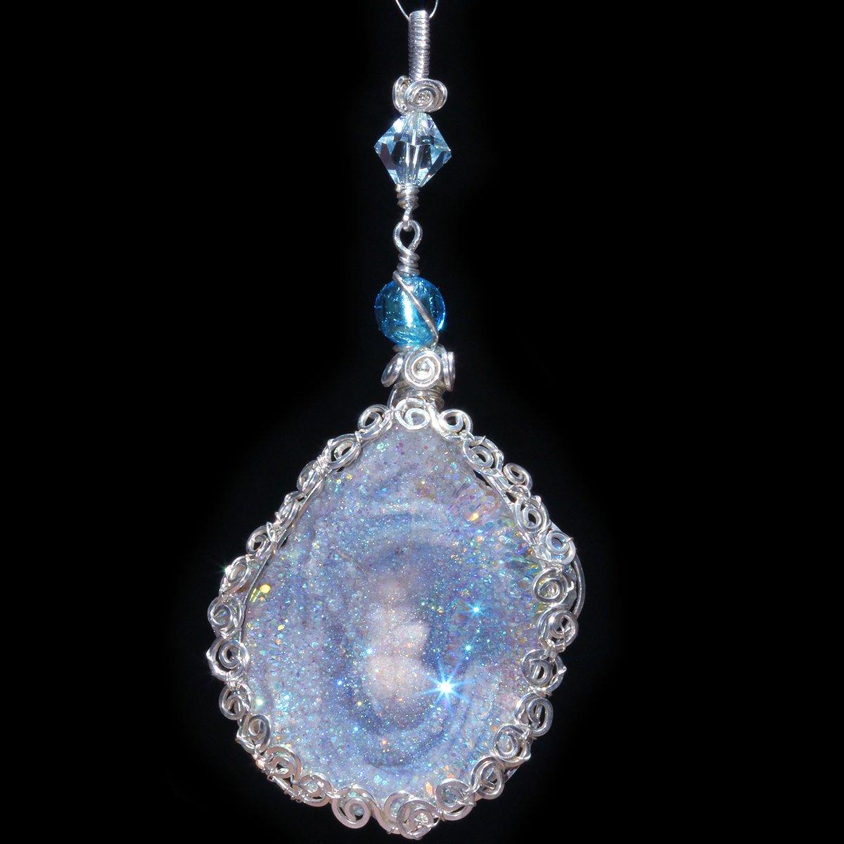 Fairy Aura Chalcedony Rosette Artisan Pendant