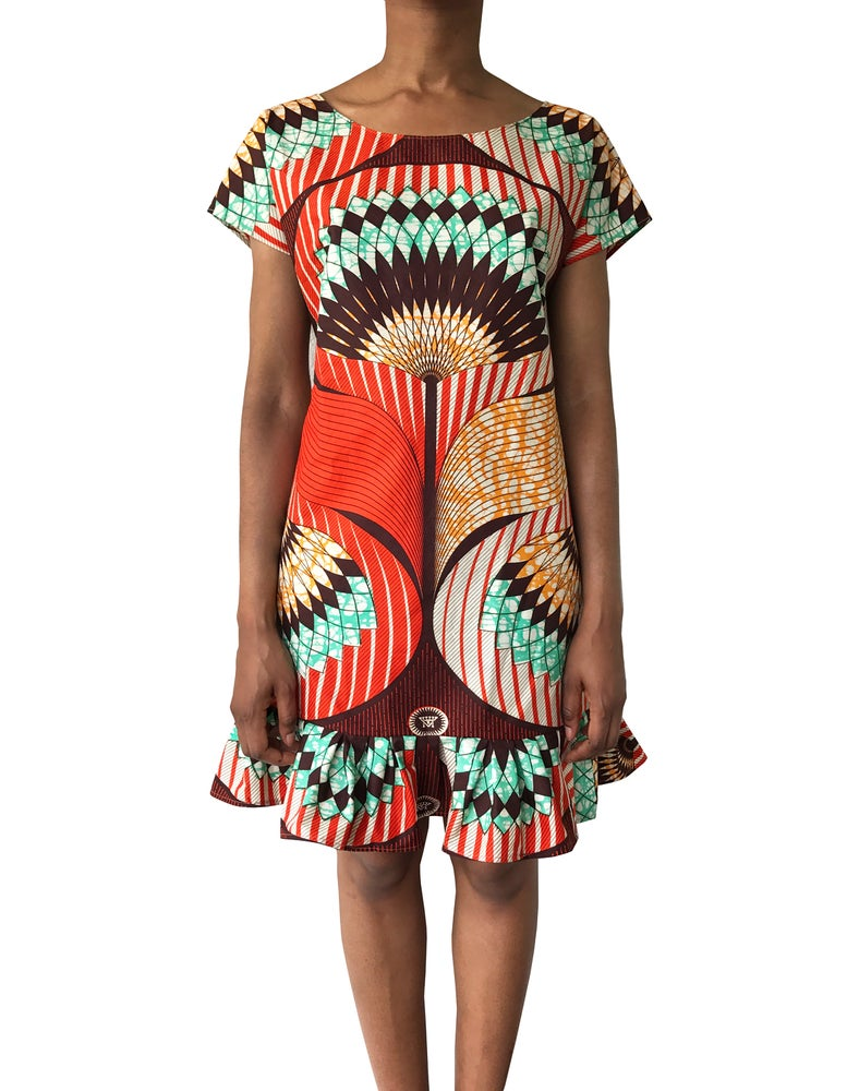 Image of Vlisco Floral Seventies Mini Dress