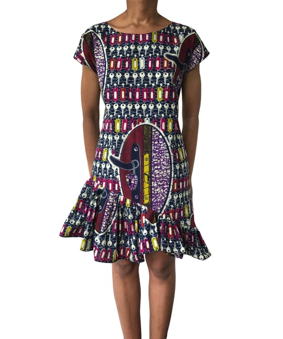 Image of Asymetric frill Vlisco Keys minidress