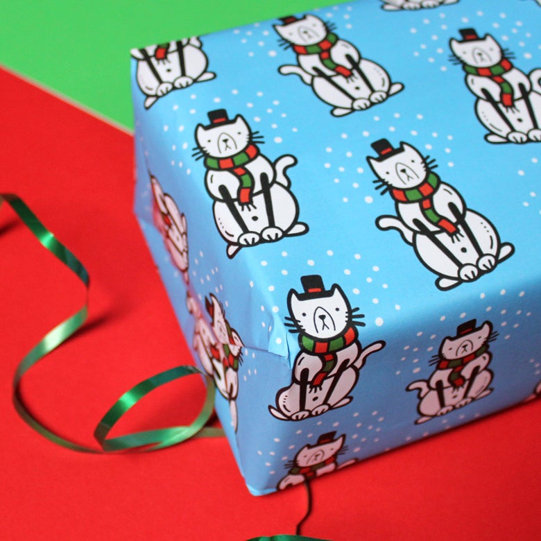 Image of Christmas 'Snowcat' luxury wrapping paper - snowman cat - a2 gift wrap sheets