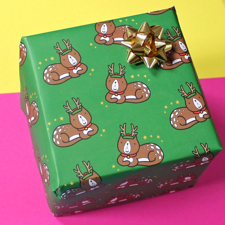 Image of Reindeer Cat Luxury wrapping paper - funny gift wrap - xmas cat - a2 gift wrap sheets