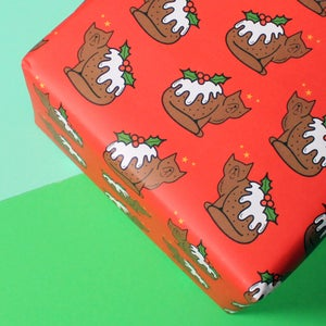 Image of Christmas Pudding Cat, luxury wrapping paper - funny gift wrap - a2 gift wrap sheets