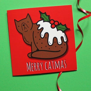 Image of Christmas Pud-dy Cat, Funny Xmas Card - Christmas Pudding - Foodie Card - Cat Greetings Card