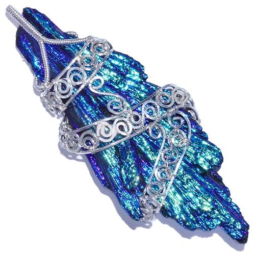 Bird's Wing Aura Kyanite Handmade Pendant