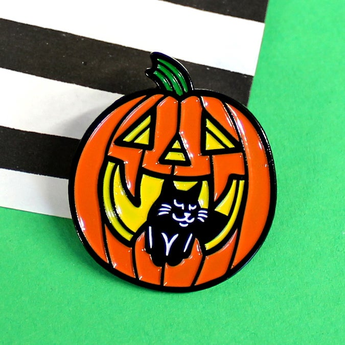 Image of Pumpkin and black cat, enamel pin - halloween pin - witchy pin - black cat - lapel pin badge