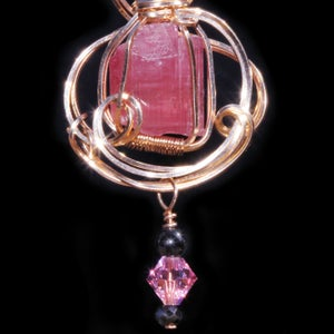 Image of Rough Pink Tourmaline Crystal Handmade Pendant