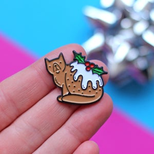 Image of Christmas Pudding Cat enamel pin - xmas pudding - funny cat pin - lapel pin badge