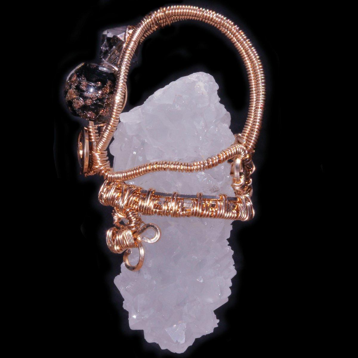 Apophyllite Druzy Stalactite Woven Wire Wrapped Pendant