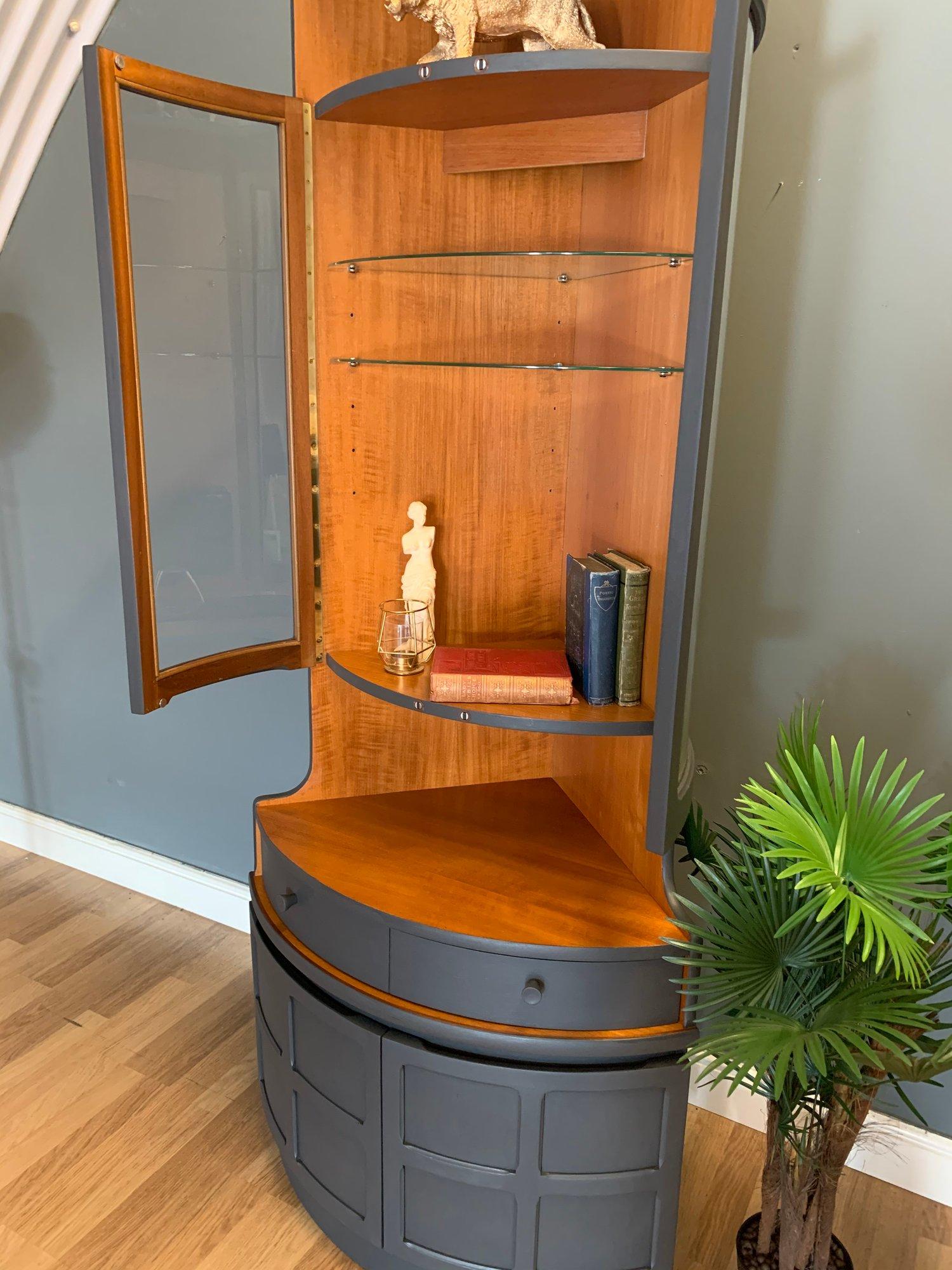 Image of Tall dark grey Nathan teak corner drinks cabinet