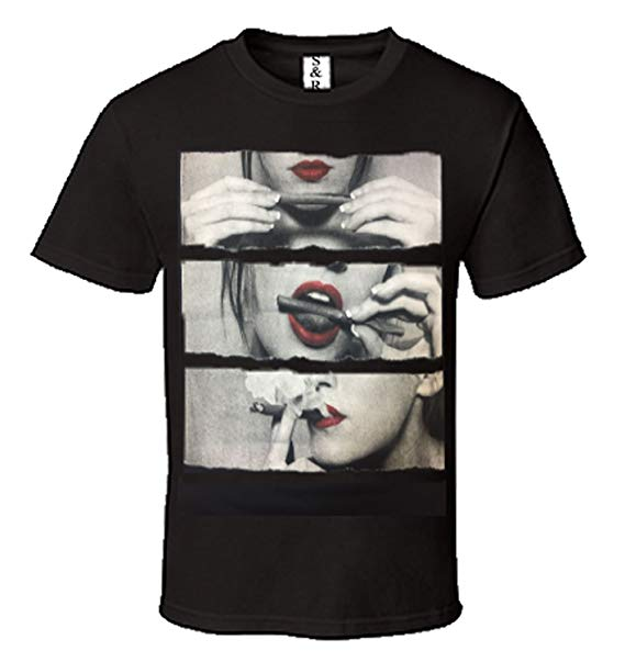 Image of Rolling Blunt Red Lips T Shirt