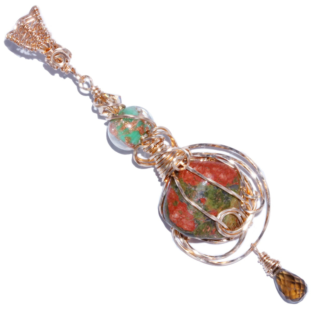 Unakite Handmade Wire Wrapped Pendant