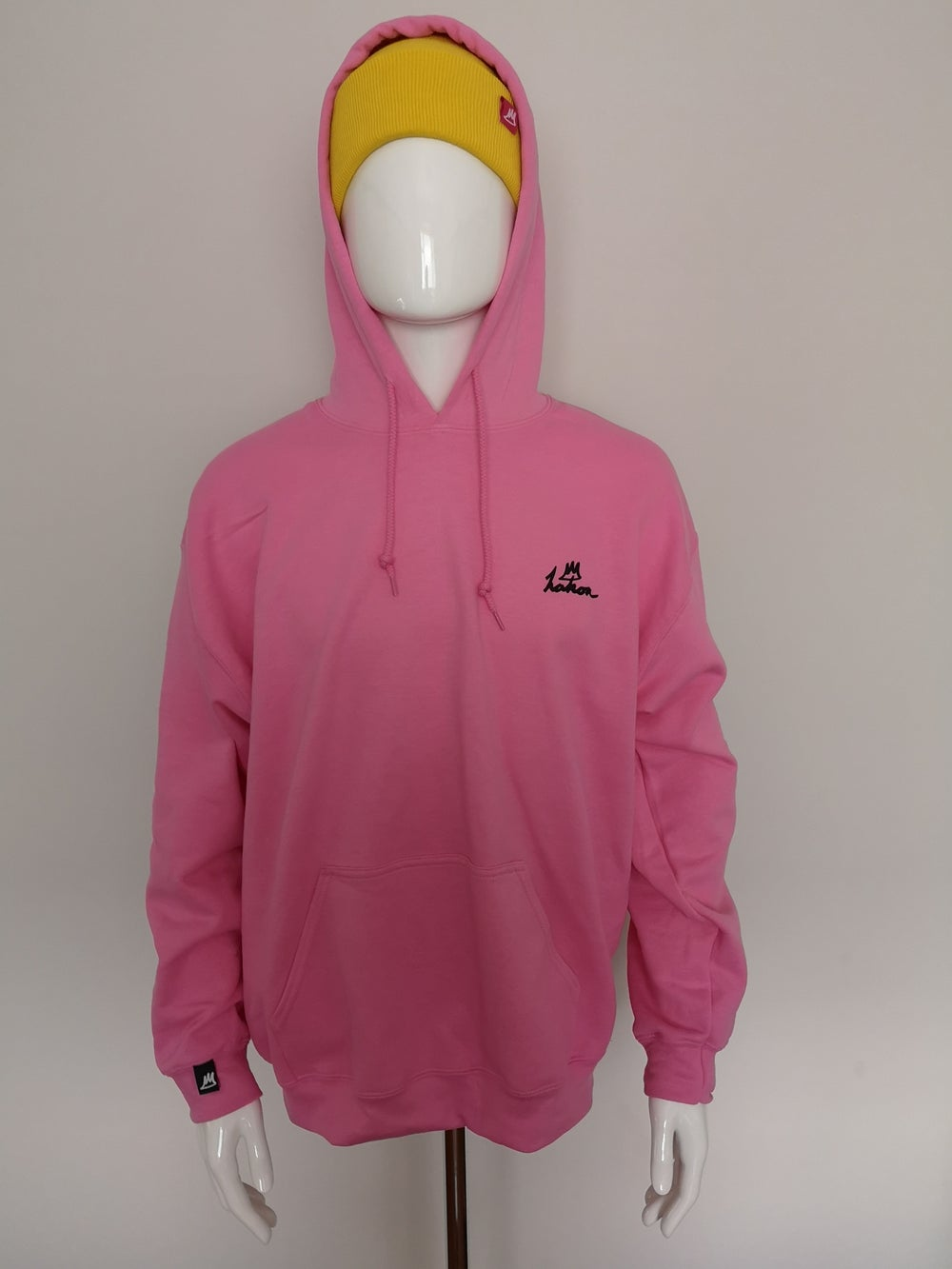 Image of Classic Logo Hood (Black on Pink)