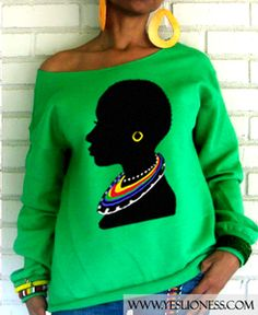 "Image of The ""Tribal"" Off the Shoulder Sweatshirt in Green"