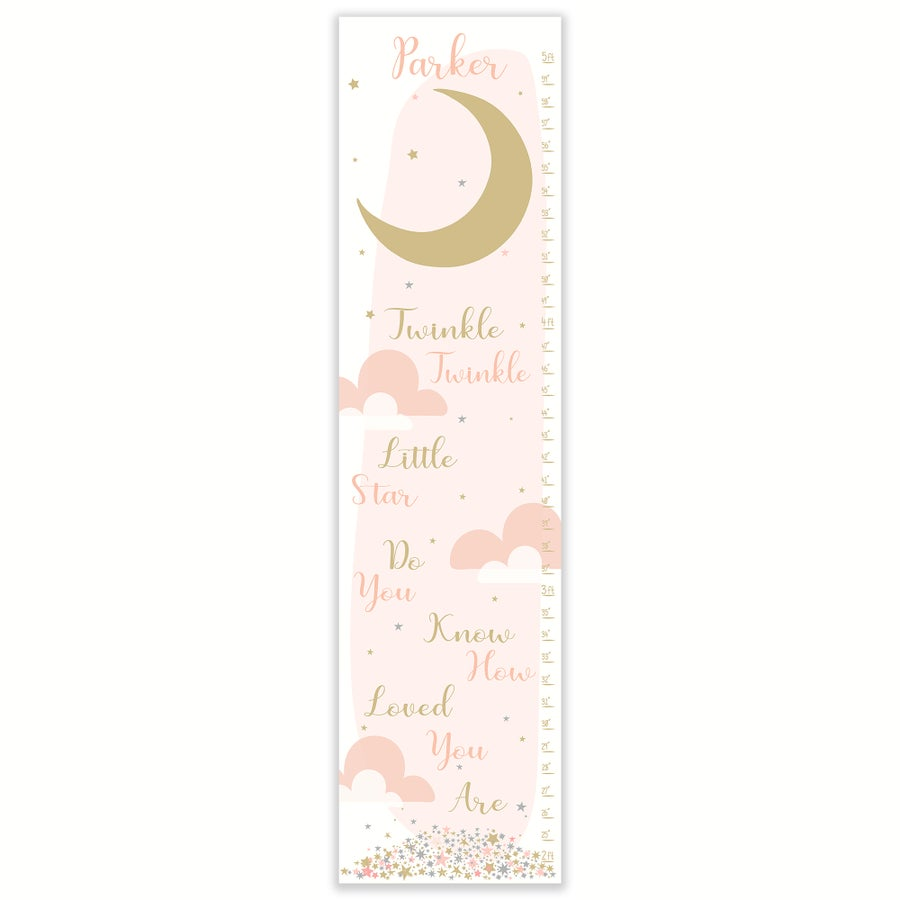 Image of Twinkle Twinkle -  Personalized Blush and Gold Canvas Growth Chart