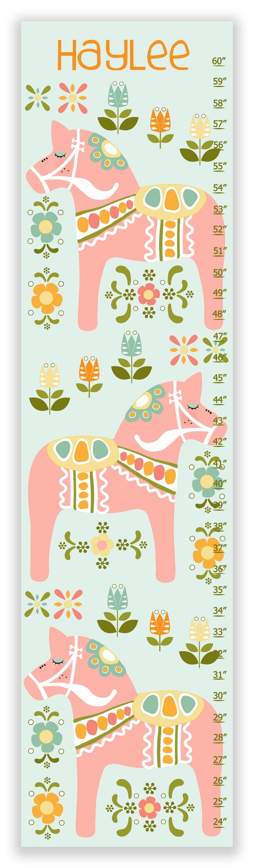 Image of Dala Horse - Personalized Pink Canvas Growth Chart