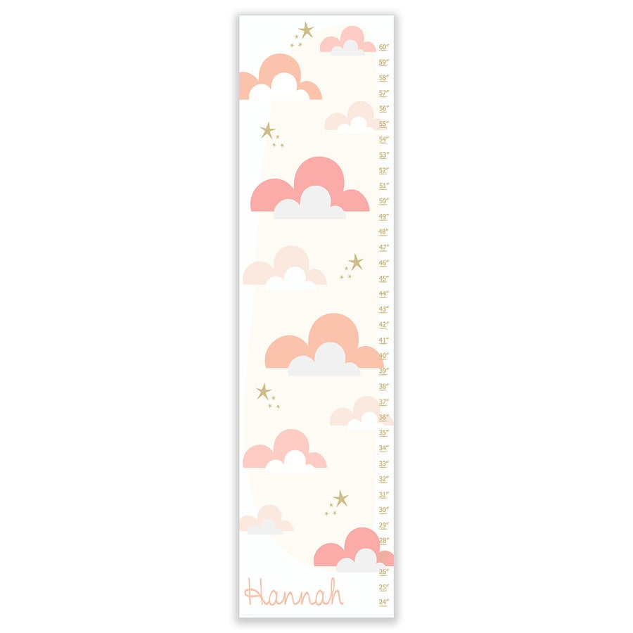 Image of Blush Pink Candy Clouds - Personalized Canvas Growth Chart
