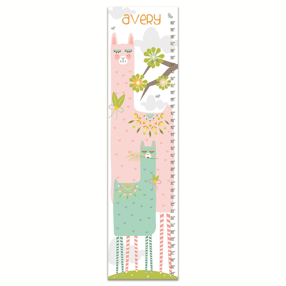 Image of Llama Llama - Personalized Pink Canvas Growth Chart