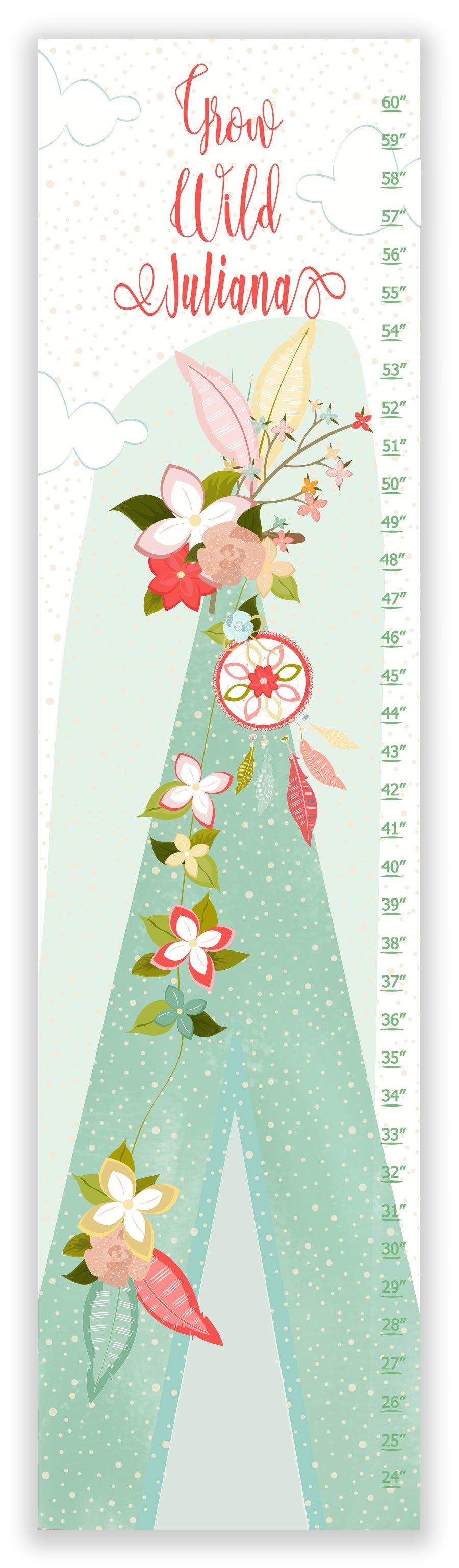 Image of Grow Wild Floral Boho TeePee - Personalized Mint and Blush Canvas Growth Chart