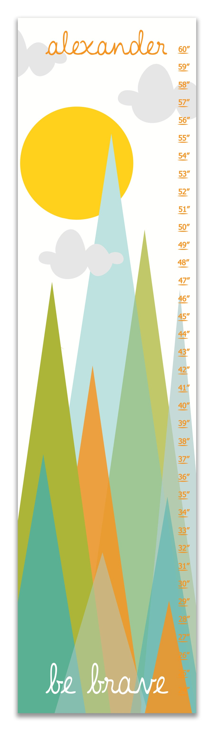 Image of Be Brave Modern Minimal Mountains - Personalized Orange and Green Canvas Growth Chart