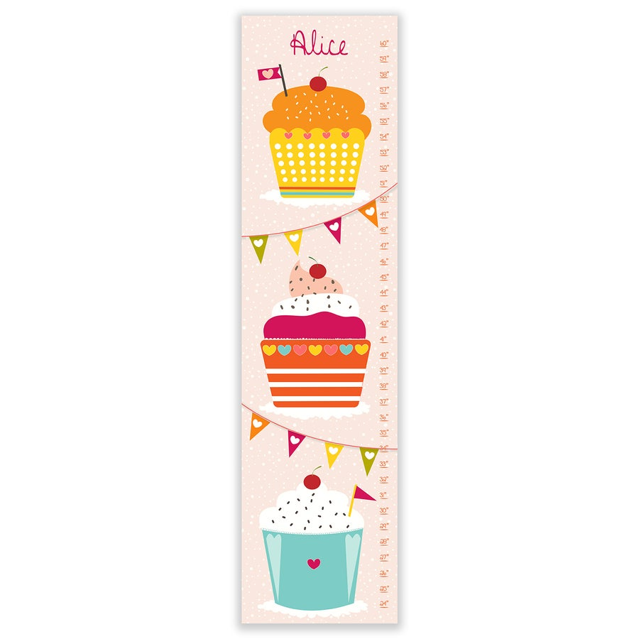 Image of Yummy Cupcakes - Personalized Girl's Pink Canvas Growth Chart
