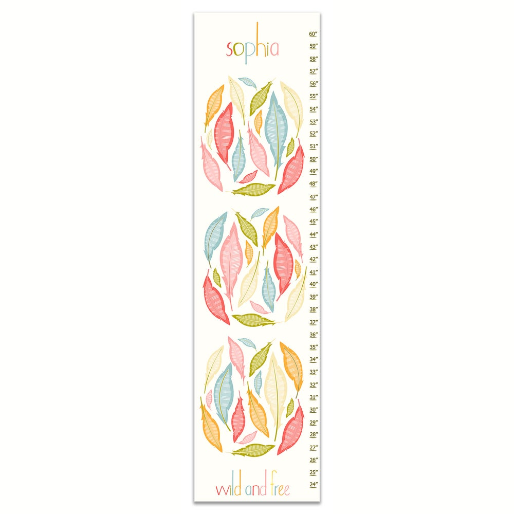 Image of Wild and Free Feathers - Personalized Pink Girl's Canvas Growth Chart