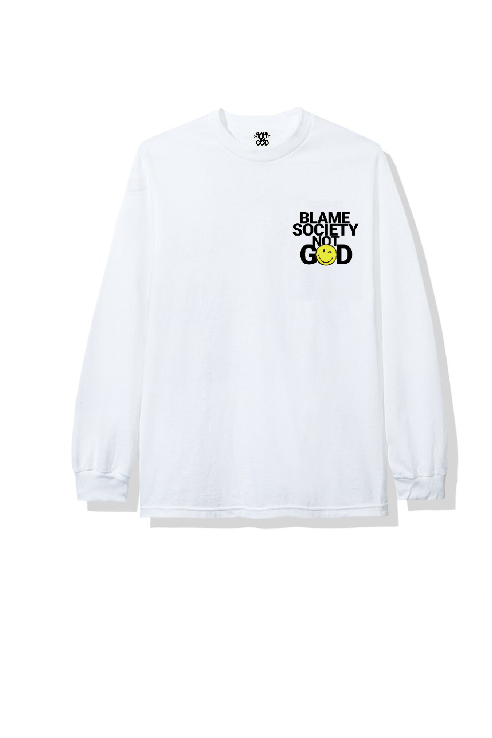 Image of BLAME SMILEY WHITE T-SHIRT LONGSLEEVES