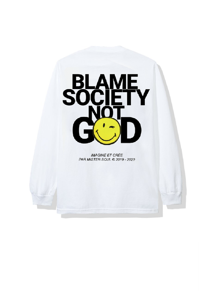 Image of BLAME SMILEY WHITE T-SHIRT LONGSLEEVES