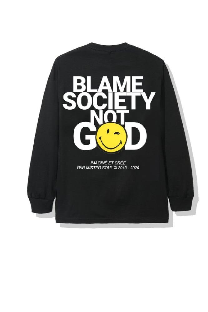 Image of BLAME SMILEY BLACK T-SHIRT LONGSLEEVES