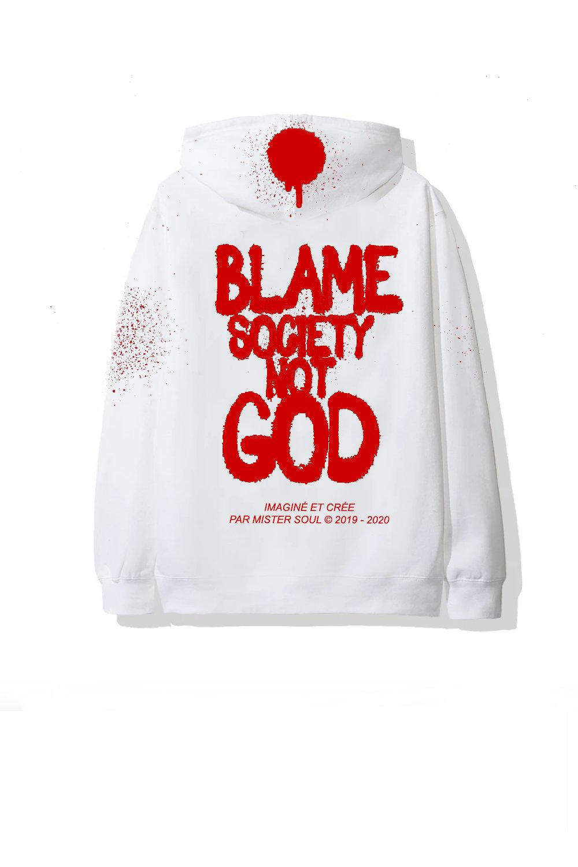 Image of TAG BLAME SOCIETY WHITE HOODIE