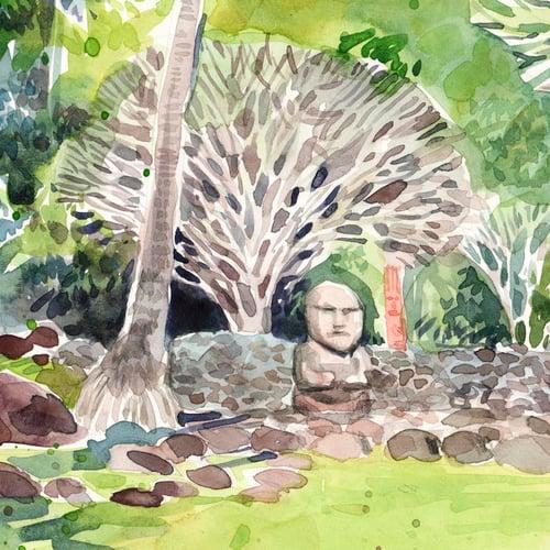 """Image of Original Painting - """"Marae d'Arahurahu - Tahiti """" - 30x42 cm"""
