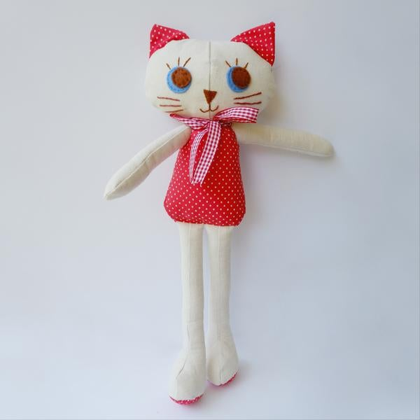 "Image of Kitty Cat Handmade Cloth Doll 12""- Audrey"