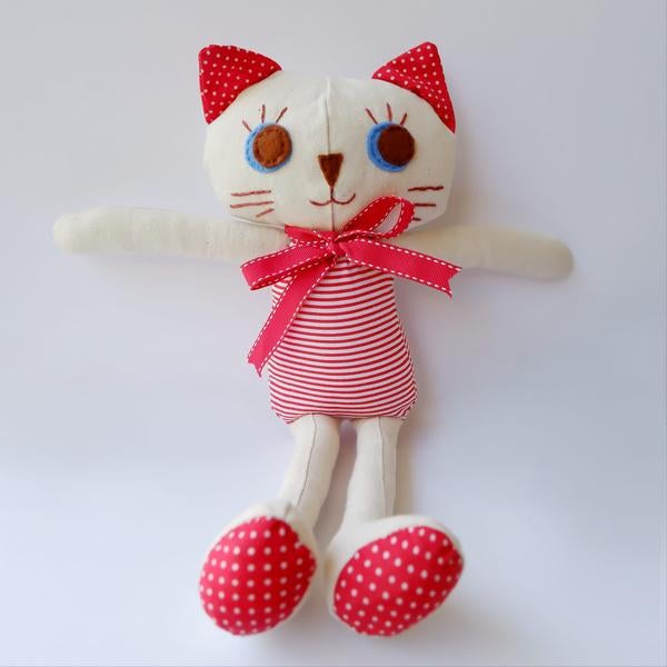 """Image of Kitty Cat Handmade Cloth Doll 12""""- Daisy"""