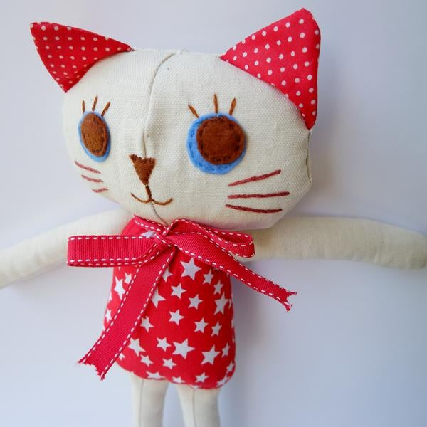 Image of Kitty Cat Handmade Cloth Doll-Twinkle